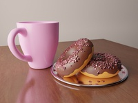 Tasty Valentine's day donuts with cup of tea