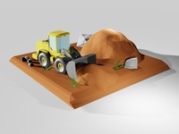 Lowpoly Construction Loader Vehicle