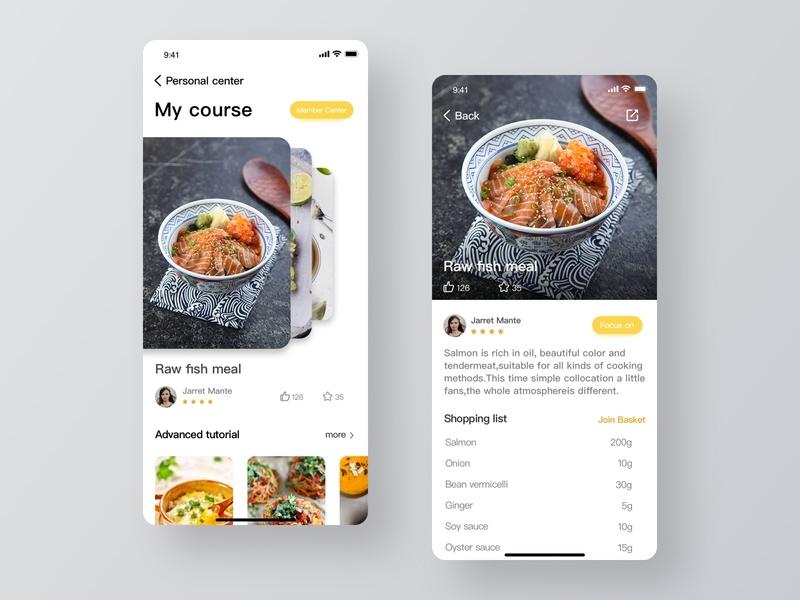 Food App Concept course list white vector ux flat favourite cooking food app design ui