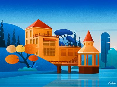 Scenery to enjoy illustration