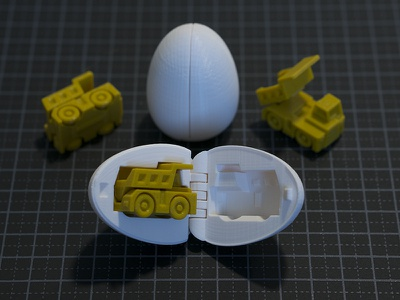 3D Printable Surprise Egg - #1 Tiny Haul Truck Toy toy surprise egg 3d printing 3d