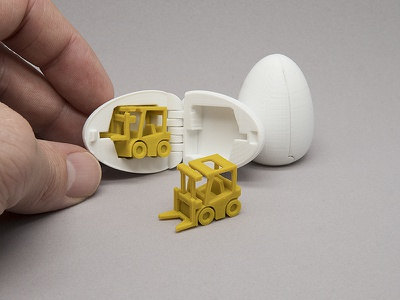 3D Printable Surprise Egg - #2 Tiny Fork Lift Toy toy surprise egg 3d printing 3d