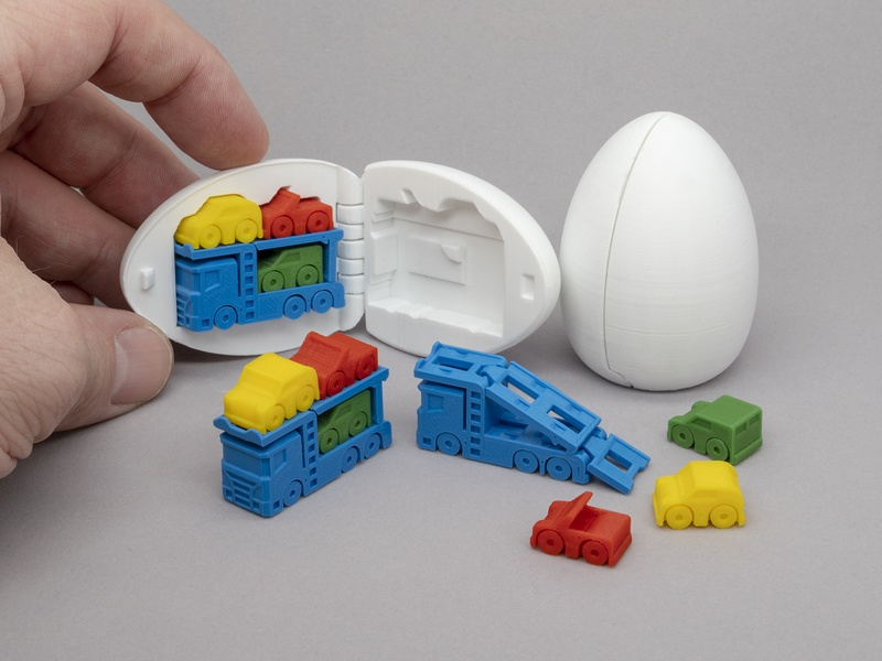 3D Printable Surprise Egg - #7 Car Carrier toy print-in-place articulated surprise egg 3d printing 3d