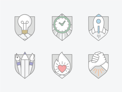 Badges efficient innovation passionate team work creative colours ui icons badges flat illustrations