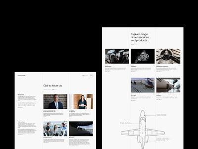 About us - Web design for aviation maintenance company business flight plane aircraft aviation modern simple clean illustration fonts typography team about us column layout ui design web