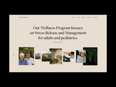 Intro - Healthcare & Wellness Center - Website design colors fonts typography selfcare healthcare wellness health subtle simple clean animation gallery showcase home page intro design web