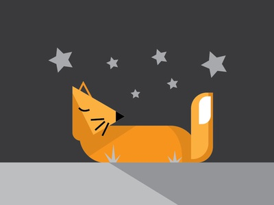 Sleeping Fox Illustration flat  design flat fox web ui design illustration adobe
