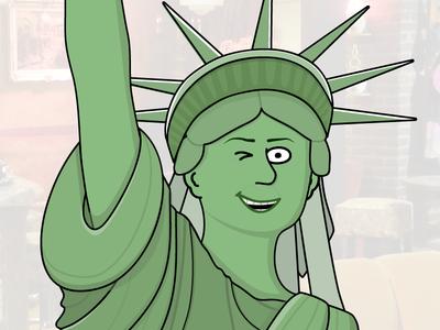 Statue Of Liberty statue liberty wink green