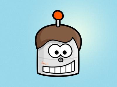 Robot with hair, 64GB edition robot orange blue teeth antenna aerial hair