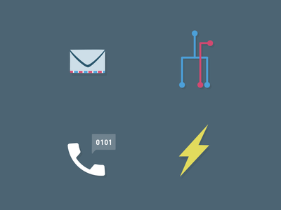 System Icons email networks voip telephone flash lightning