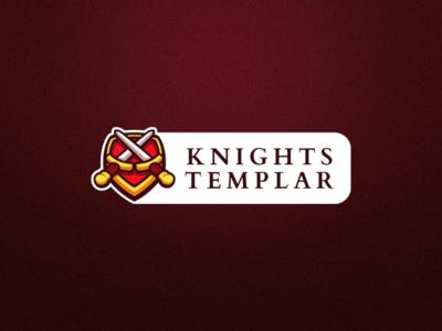 Knights Templar badge gaming logos logodesign gold red shield sword knight typeface photoshop vector illustrator branding graphic design logo art illustration creative design