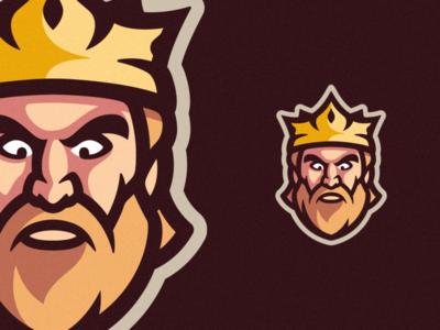 King Mascot Logo kingdom beard mascot logo character cartoon illustration art logo design brand identity crown king branding photoshop vector illustrator graphic design logo art illustration creative design
