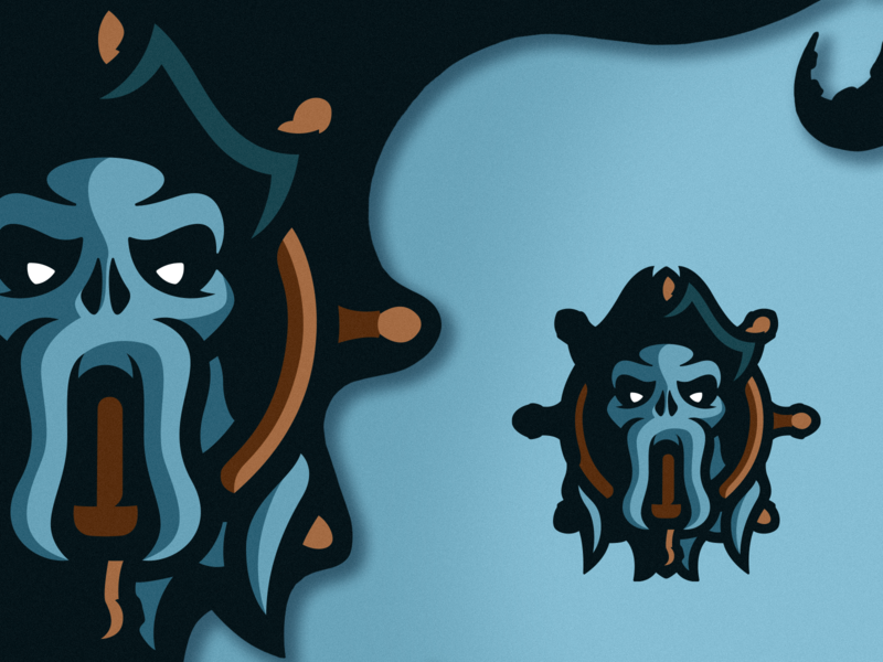 Davy Jones Logo Design artwork blue mascot logo logo design illustrations tentacle kraken pirate esports mascot photoshop illustrator branding vector graphic design logo art illustration creative design