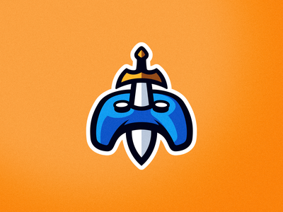 Gaming Sword esports logo mascot brand artwork orange controller game design gaming sword esports mascot logo branding illustrator vector logo graphic design art illustration creative design