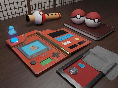 Pokemon desk graphic design cute blender artwork art 3d animation 3d modeling 3d artist 3d art 3d render pokeball pokemon scenery scene game art game concept diglett creative