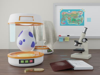 Poke Lab science blender 3d pokemon art egg creative concept game design game art scene pokemon render 3d modeling 3d artist 3d art 3d art artwork blender cute graphic design