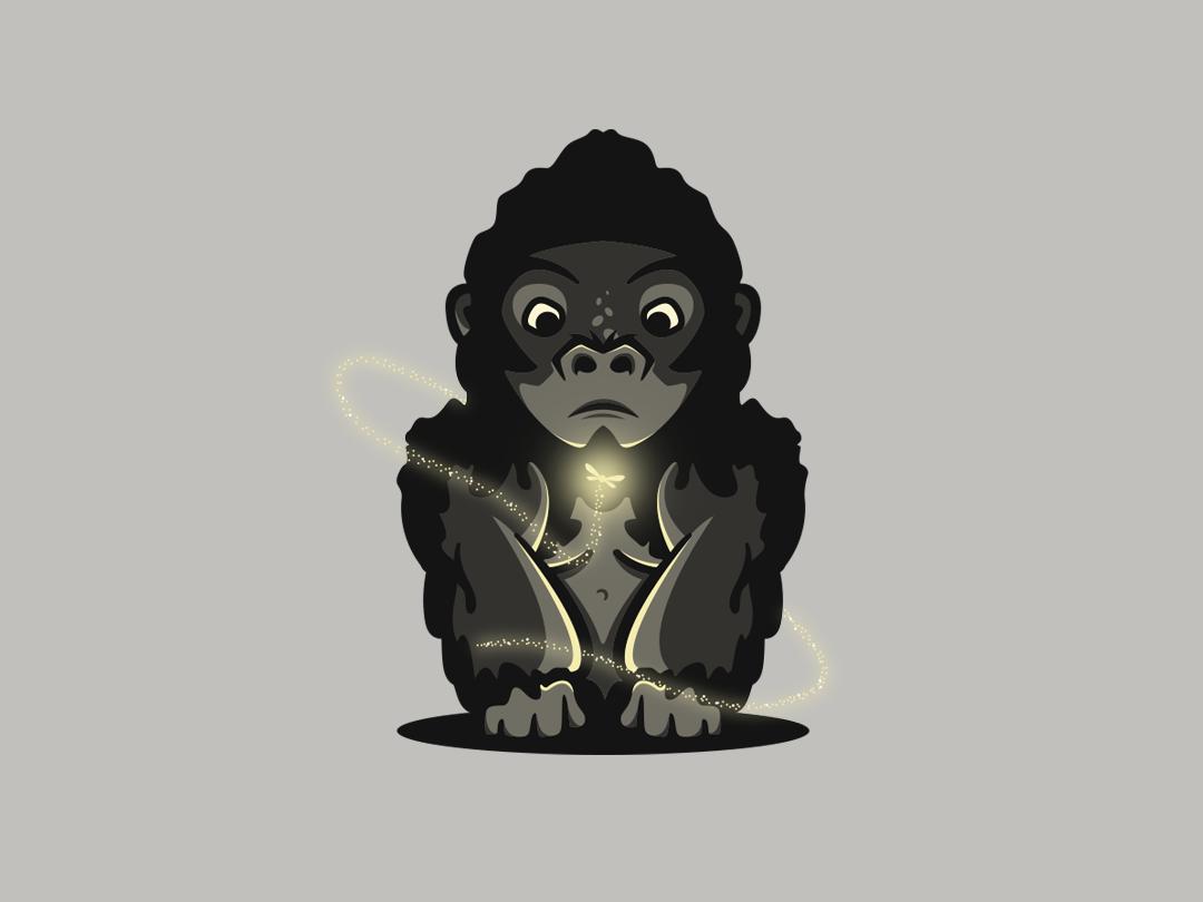 Gorilla Illustration website animation cute animal app icon photoshop minimal ui flat adobe mascot logo illustrator art graphic design vector logo illustration design creative branding