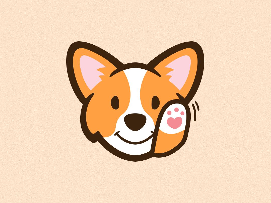 Waving Corgi Emote emote emoji icon ux waving cute animal cute corgi art photoshop flat ui illustrator graphic design vector logo illustration design creative branding