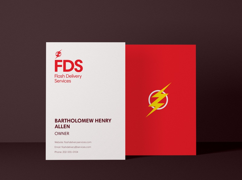 Flash Bussiness Card - Weekly Warm-ups minimal flat logo graphic design design superhero flash bussines card dc comics
