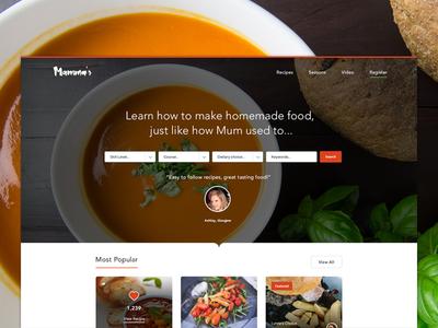 Mamma's Recipes photography ui search food web design web
