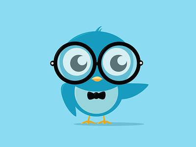 Geeky Bird bird geek geeky nerd nerdy blue illustration