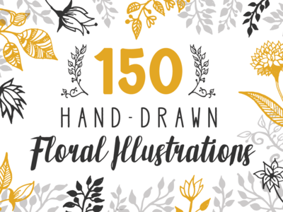 150 Hand-drawn Floral Illustrations vector wedding wreath laurels flowers floral hand drawn handdrawn creative market extended license illustrations
