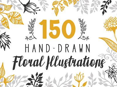 150 Hand-drawn Floral Illustrations vector wedding wreath laurels flowers floral hand drawn handdrawn creative market extended license illustrations