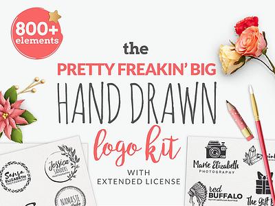 The Pretty Freakin' Big Hand Drawn Logo Kit logo creation illustrations hand drawn logo kit branding