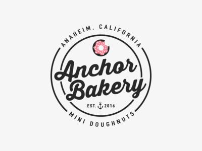 Anchor Bakery Branding california circle vintage retro black pink food donut doughnut anchor bakery