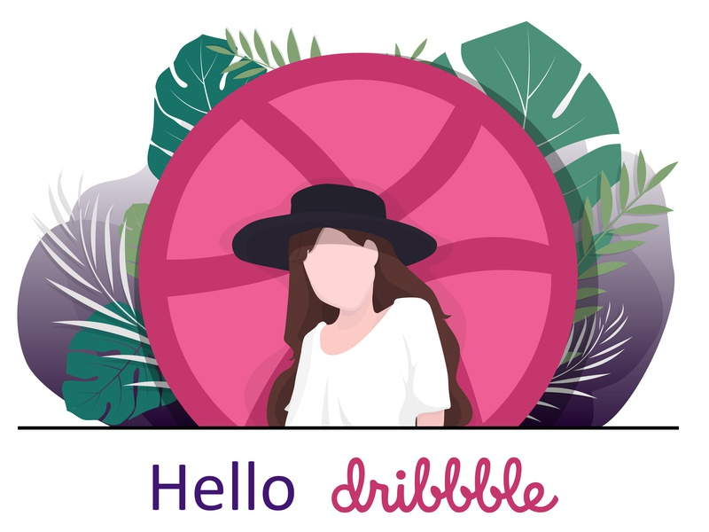 illustration hello dribbble cute character girl first shot flat vector design debut illustration illustrator adobe illustrator cc иллюстрация