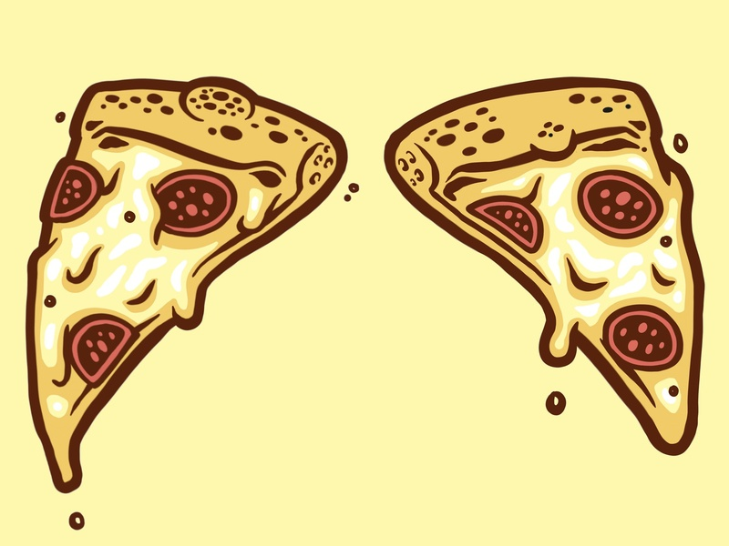 'Pizza-Kini' bikini pizza ink vector illustration