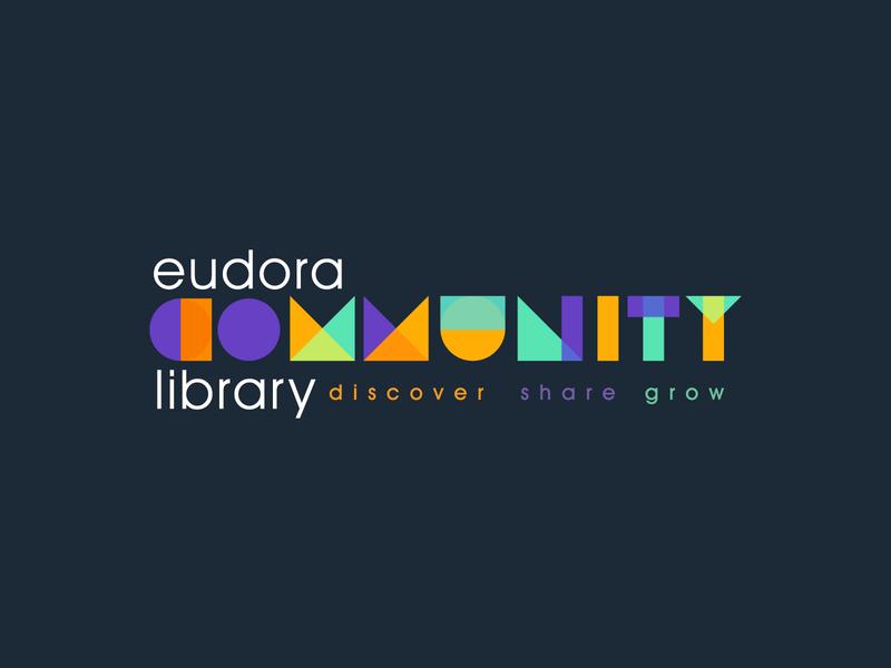 Eudora Community Library Logo book grow share discover community library brand identity custom type typography logo brand and identity branding illustrator drawing design