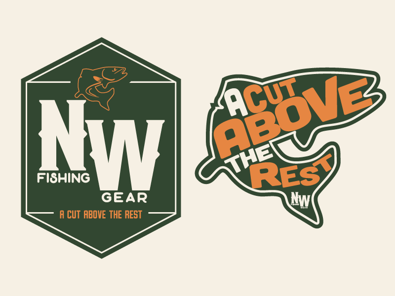NW Fishing Gear outdoors wilderness camping fishing fish typography illustration custom type logo illustation branding brand and identity illustrator drawing design