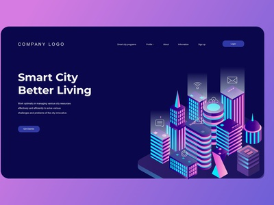Smart City Isometric Landing Pages ux ui display business illustration vector isometric illustration isometric design isometric landing page design website design ui design user interface branding web design web design agency