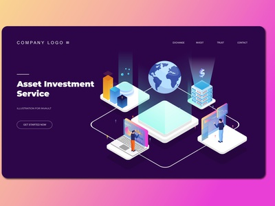 Digital Investment Isometric Landing Pages ux ui display business illustration vector isometric illustration isometric design isometric landing page design website design ui design user interface branding web design web design agency