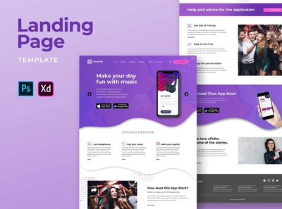 Landing Pages – Music Player Apps