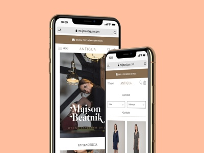 Mujer Antigua - eCommerce Web Design website web design web ux ui  ux ui shopify responsive mockup mobile fashion brand ecommerce design ecommerce design branding