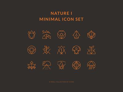 Nature Minimal Icons Set t-shirt tee illustrator nature minimal icon flat