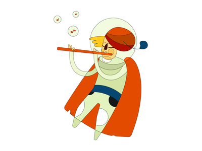 Spaceflute music sing space flute illustration