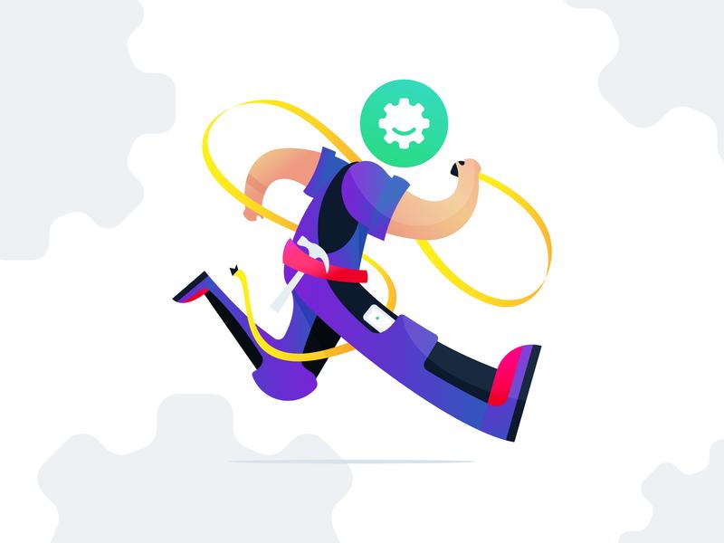 Handyman on the job running worker handyman logo web vector design branding simple app illustration minimal flat clean