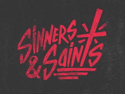 sinners & saints illustration design logo wordmark identity lettering