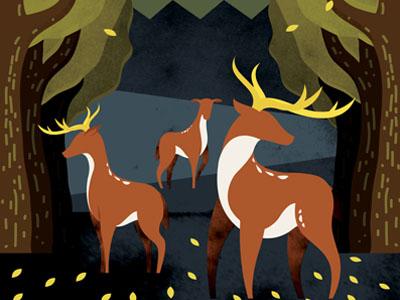 Dark Forrest illustration drawing nature deer forrest trees woods