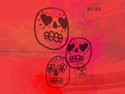 Love Calaveras illustration drawing abstract typography skulls calavera