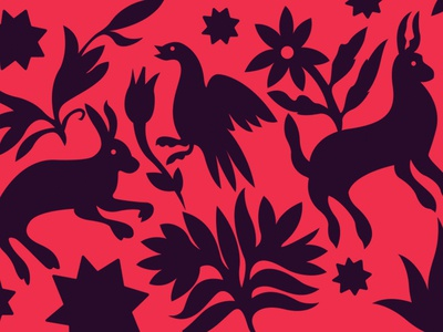 Otomi textile pattern otomi illustration design animals flowers mexico