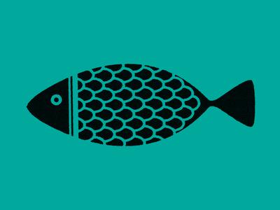 Fish print illustration design fish ink scales pattern