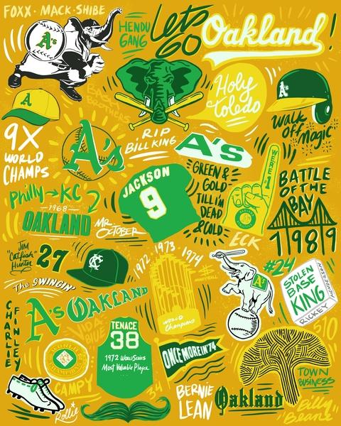 Let's Go Oakland oakland baseball hand lettering typogaphy design procreate app illustration