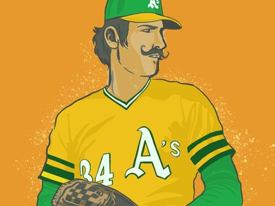 Rollie Fingers & his handlebar mustache procreate app baseball oakland typography lettering drawing design illustation