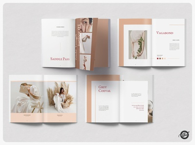 HYGEE Editorial Lookbook hygge spring proposal catalog gellato peach fashion lookbook us letter adobe indesign template professional indesign modern editorial a4 size template design print design layout design templates minimalist