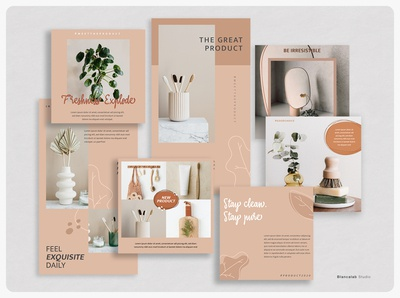 OSOAP Instagram Pack | PSD leaf feminine clean social media kit banner stories post download blog photoshop social media instagram photographer blogger content creator beauty healthcare skincare templates minimalist