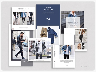 Menswear Instagram Template | MECA lifestyle photographer catalog outfit menswear ecommerce online shop clean feed story posts instagram photoshop modern photography templates layout design template design editorial minimalist